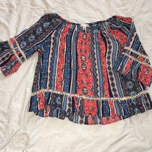JohnPaulRichard—Cropped, 3/4 bell sleeve boho top